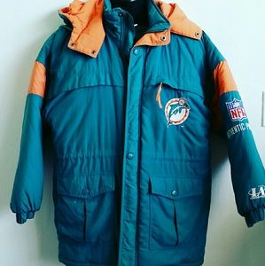 Vintage Miami Dolphins Hooded Winter Coat
